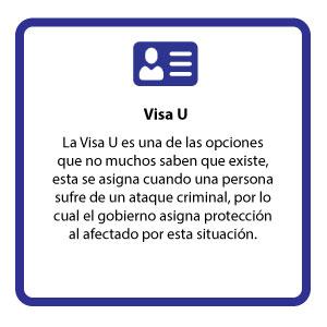 La Visa U es una de las opciones que no muchos saben que existe, esta se asigna cuando una persona sufre de un ataque criminal, por lo cual el gobierno asigna protección al afectado por esta situación.